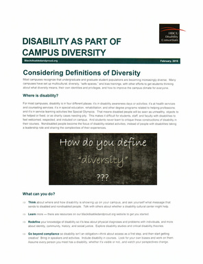 Disability as Part of Campus Diversity