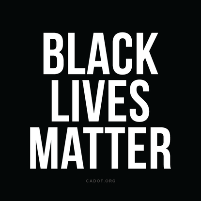 Logo of Black Lives Matter with black background and white text
